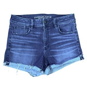 American Eagle Hi-Rise Shortie Raw Hem Shorts 10
